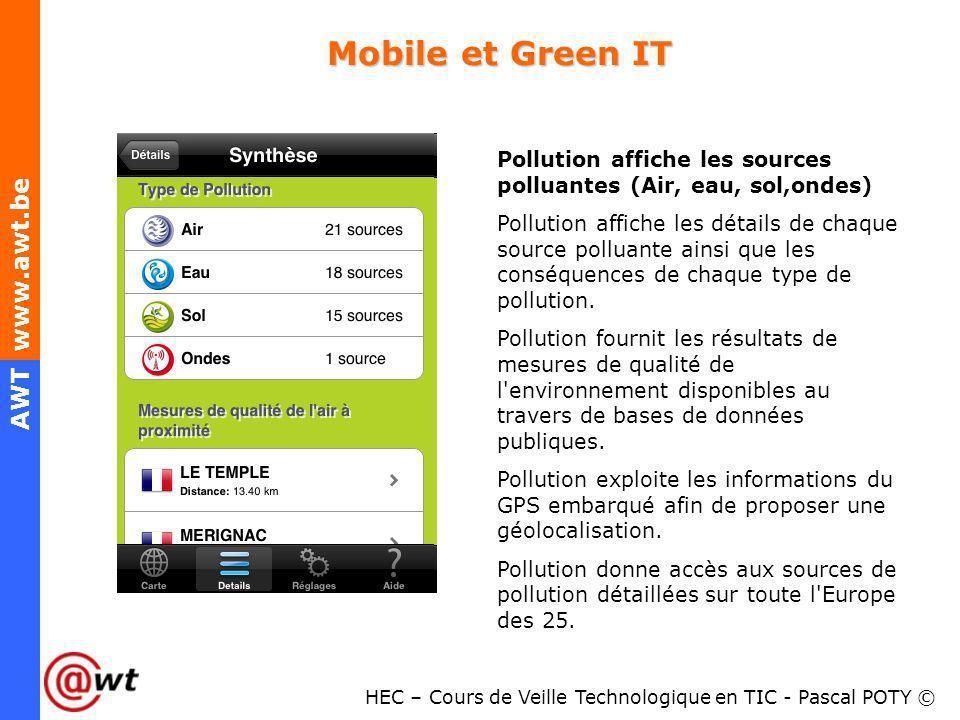 Mobile et Green ITPollution affiche les sources polluantes (Air, eau, sol,ondes)