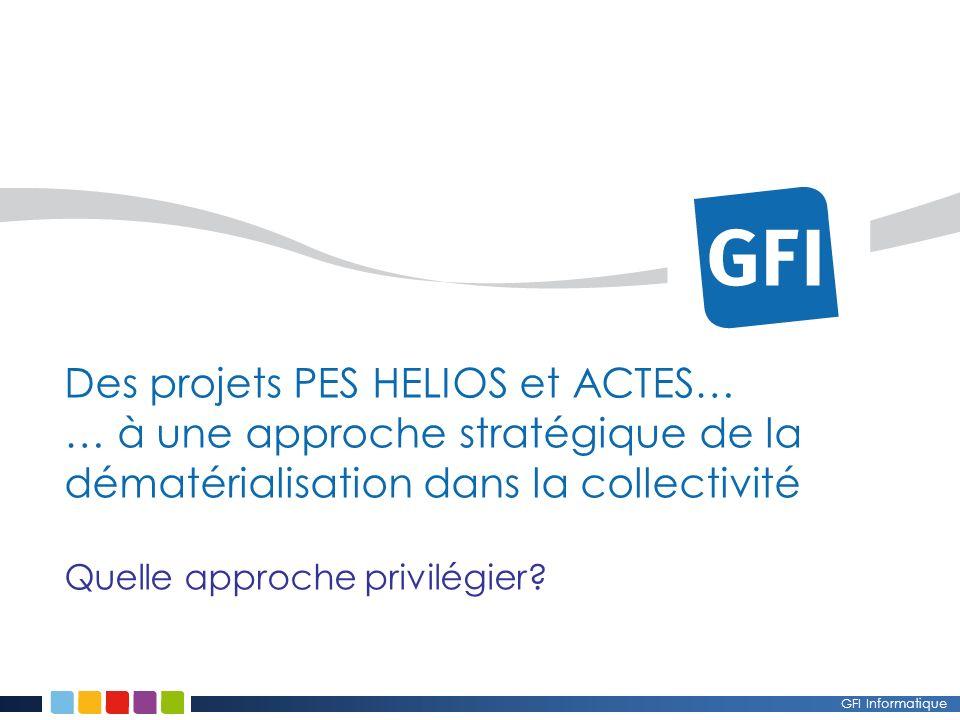 Des projets PES HELIOS et ACTES… … à une approche stratégique de la dématérialisation dans la collectivité Quelle approche privilégier