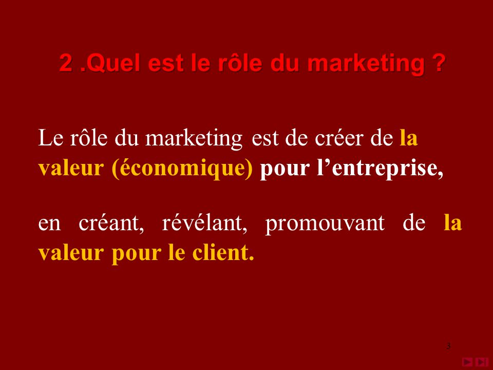 2 .Quel est le rôle du marketing