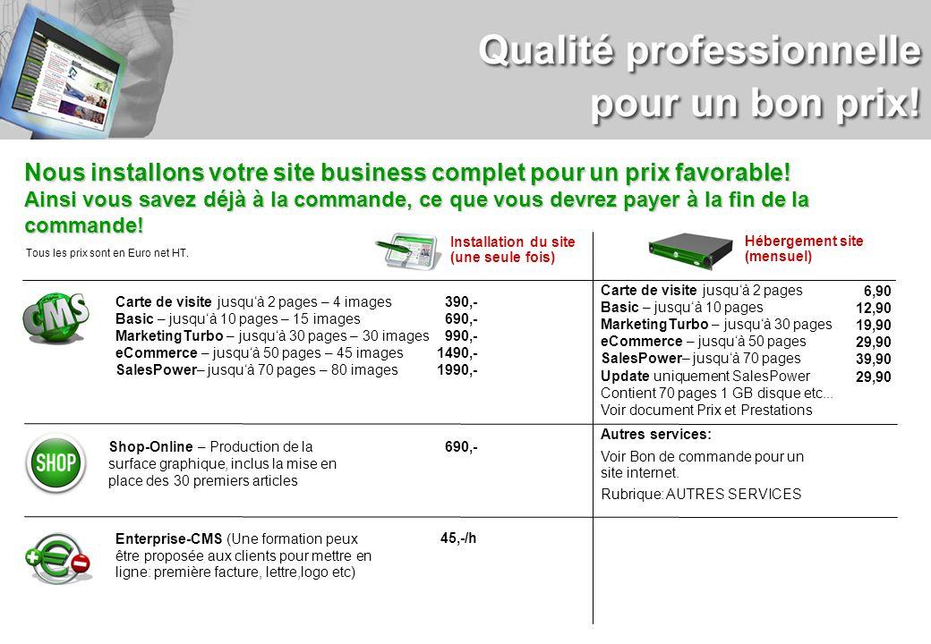 Nous installons votre site business complet pour un prix favorable