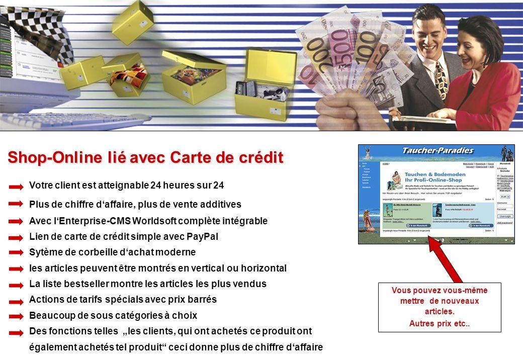 Shop-Online lié avec Carte de crédit