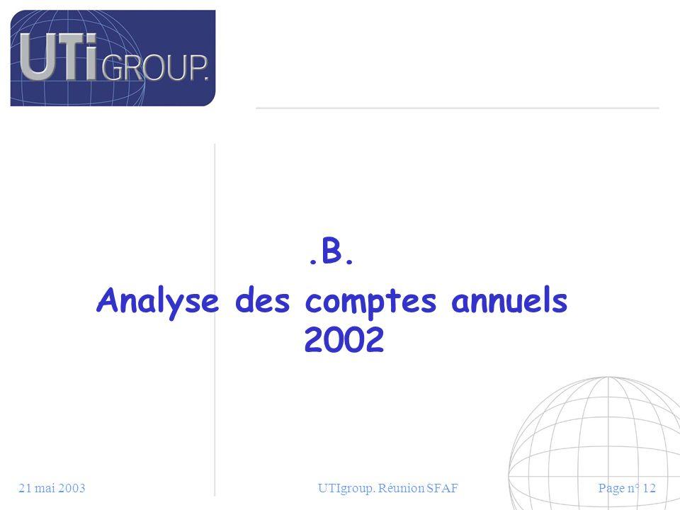 Analyse des comptes annuels 2002