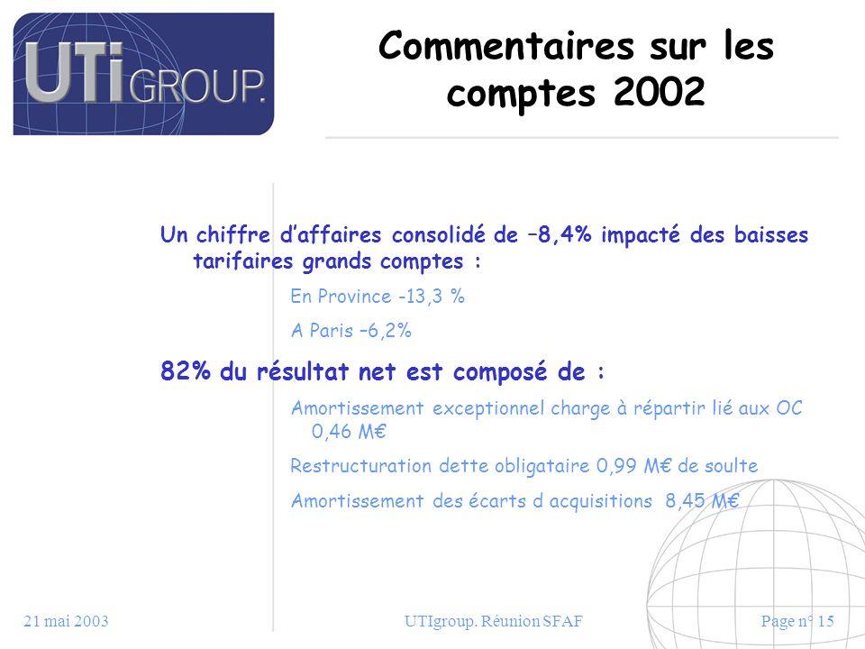 Commentaires sur les comptes 2002