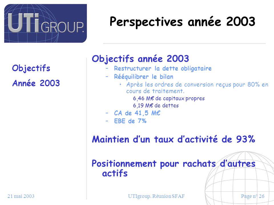 Perspectives année 2003 Objectifs année 2003