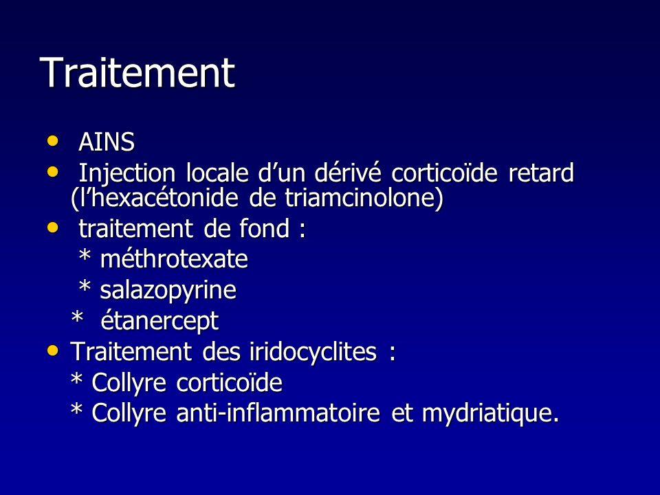 Traitement AINS. Injection locale d'un dérivé corticoïde retard (l'hexacétonide de triamcinolone)