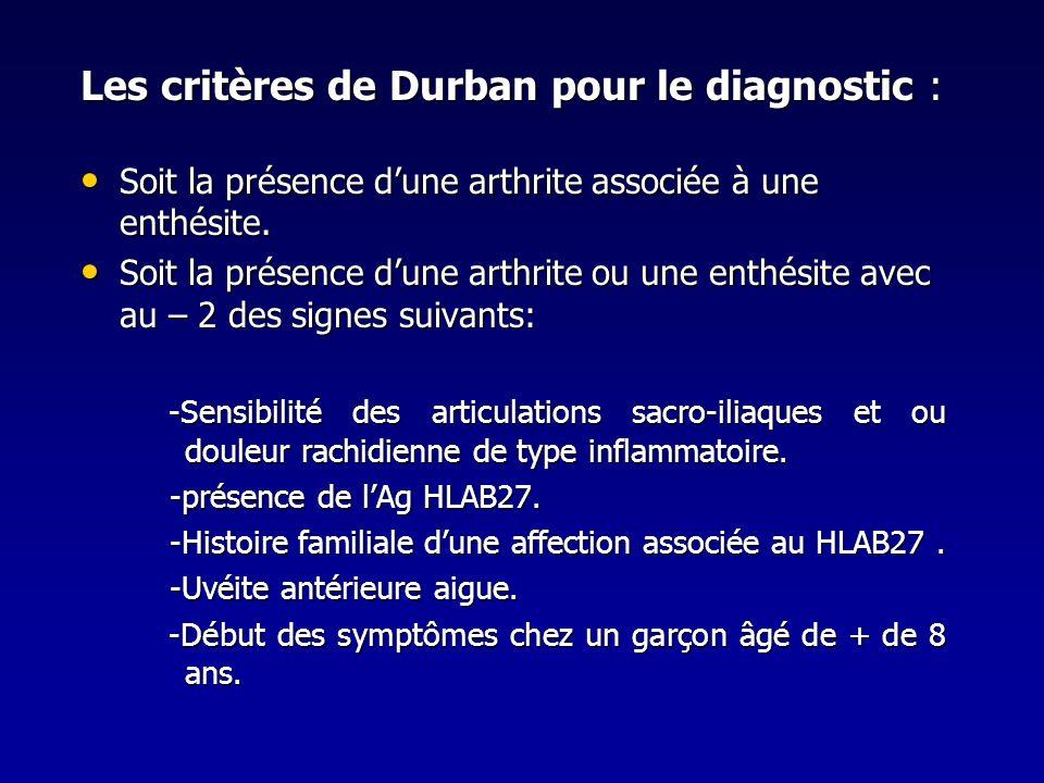 Les critères de Durban pour le diagnostic :