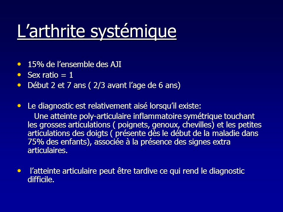 L'arthrite systémique
