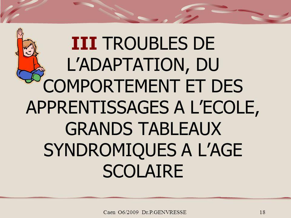 III TROUBLES DE L'ADAPTATION, DU COMPORTEMENT ET DES APPRENTISSAGES A L'ECOLE, GRANDS TABLEAUX SYNDROMIQUES A L'AGE SCOLAIRE
