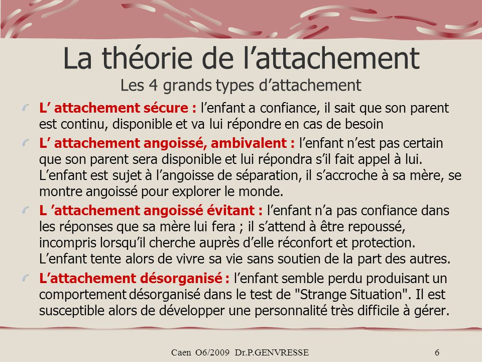 La théorie de l'attachement Les 4 grands types d'attachement