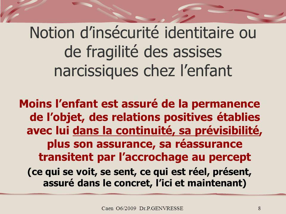 Notion d'insécurité identitaire ou de fragilité des assises narcissiques chez l'enfant