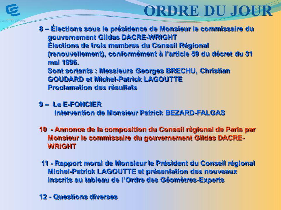 ORDRE DU JOUR 8 – Élections sous le présidence de Monsieur le commissaire du gouvernement Gildas DACRE-WRIGHT.
