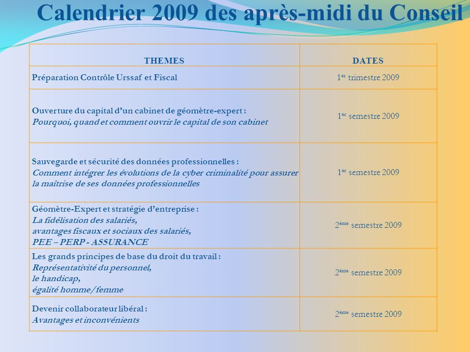 Calendrier 2009 des après-midi du Conseil