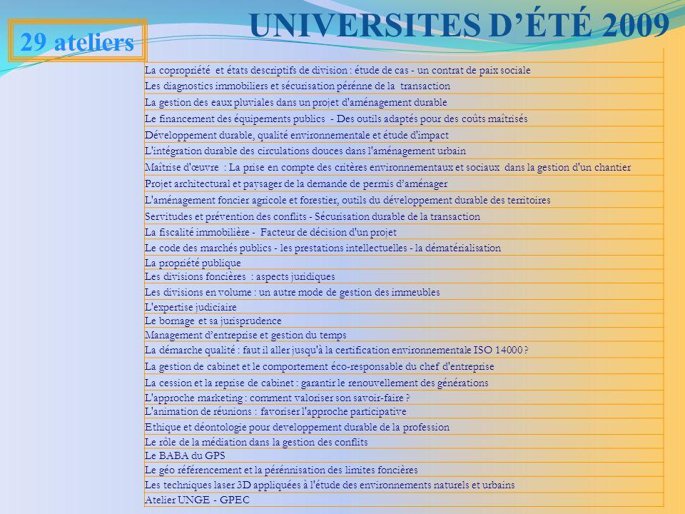 UNIVERSITES D'ÉTÉ 2009 29 ateliers