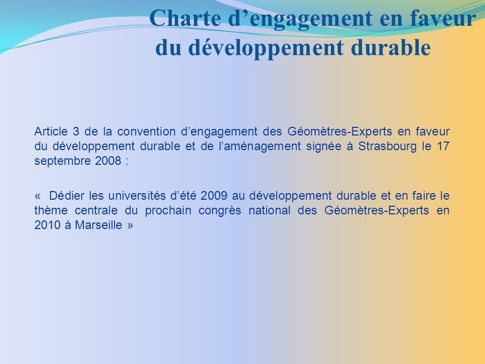 Charte d'engagement en faveur du développement durable