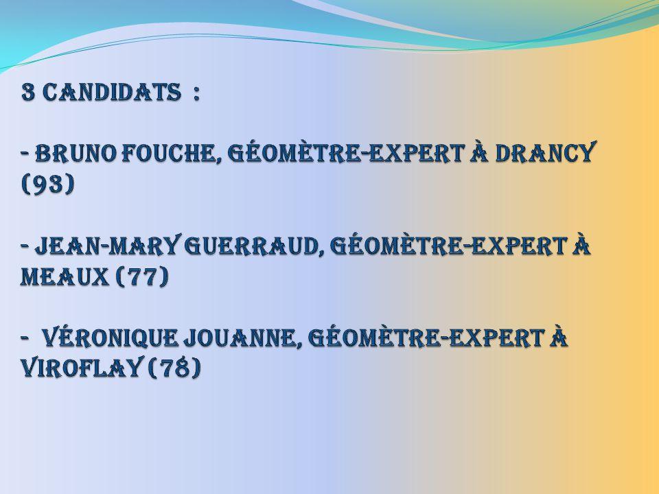 3 Candidats : - Bruno FOUCHE, Géomètre-Expert à DRANCY (93) - Jean-Mary GUERRAUD, Géomètre-Expert à MEAUX (77) - Véronique JOUANNE, Géomètre-Expert à VIROFLAY (78)