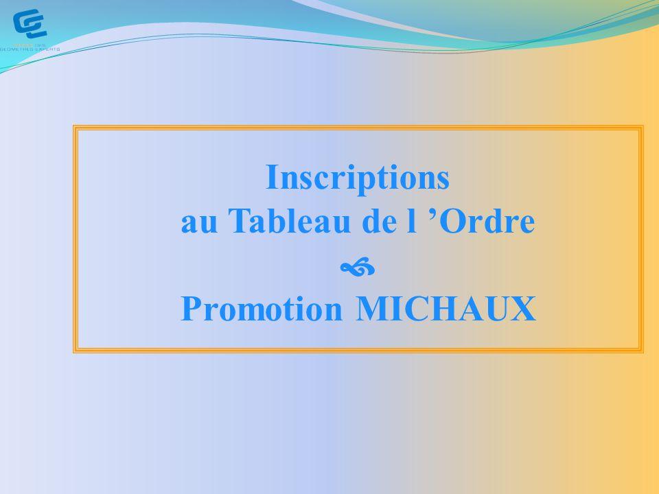 Inscriptions au Tableau de l 'Ordre  Promotion MICHAUX