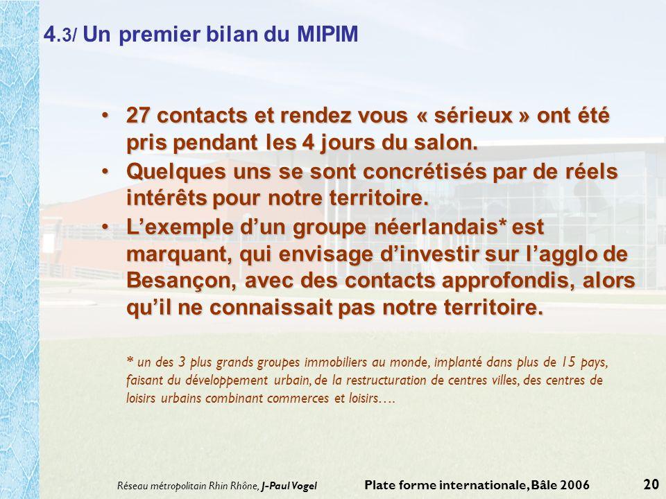 4.3/ Un premier bilan du MIPIM