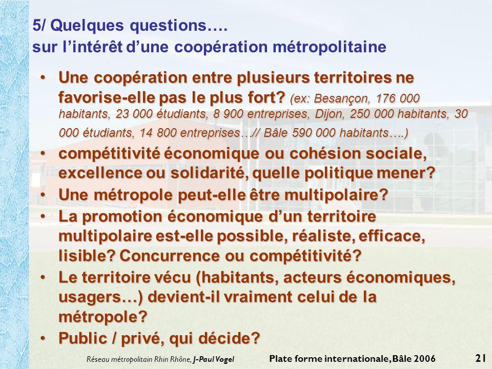 sur l'intérêt d'une coopération métropolitaine