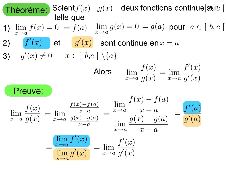 Théorème: Preuve: Soient , deux fonctions continue sur telle que pour