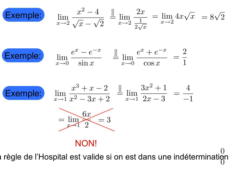 La règle de l'Hospital est valide si on est dans une indétermination