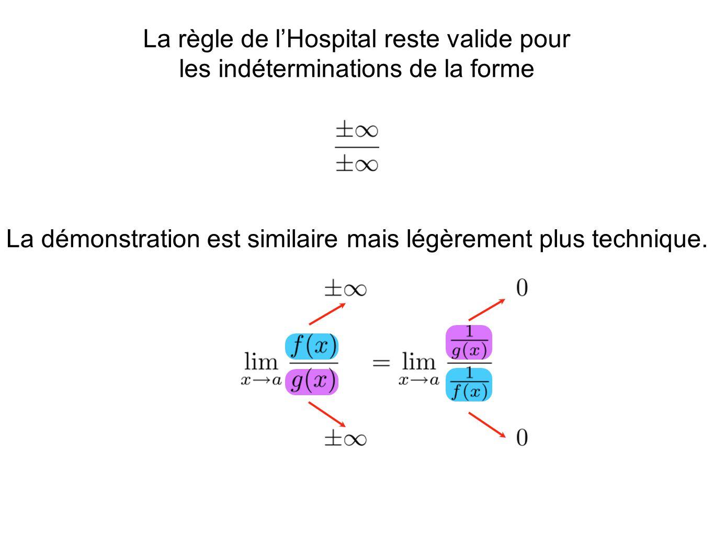 La règle de l'Hospital reste valide pour