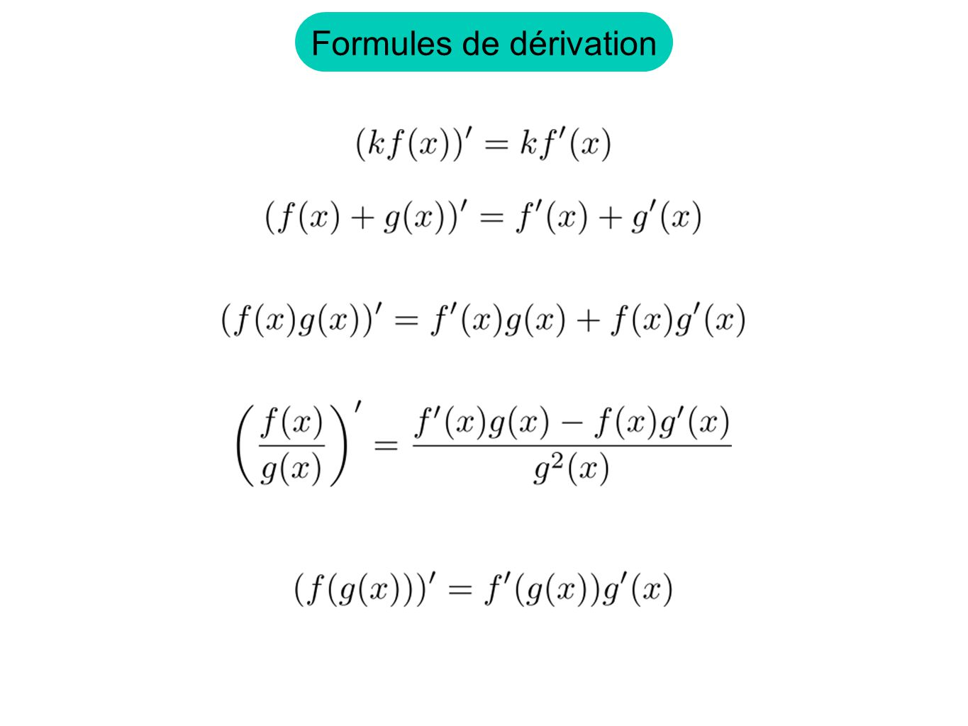 Formules de dérivation