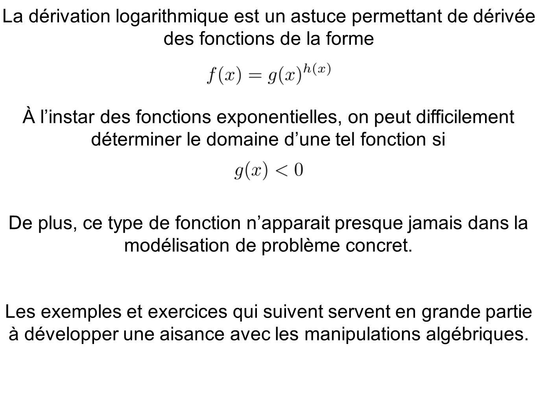 La dérivation logarithmique est un astuce permettant de dérivée des fonctions de la forme