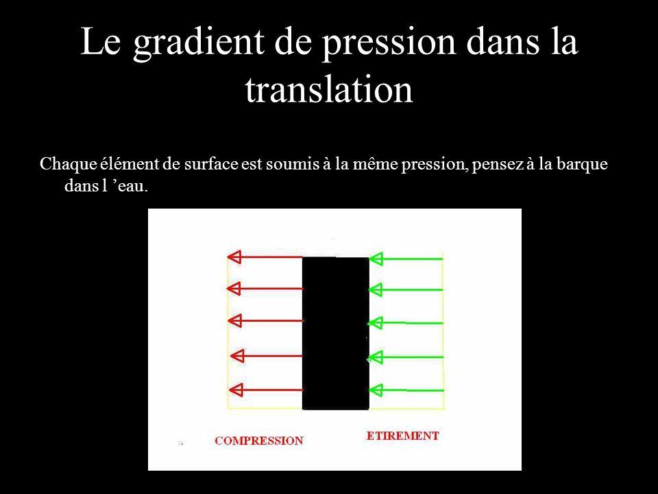 Le gradient de pression dans la translation