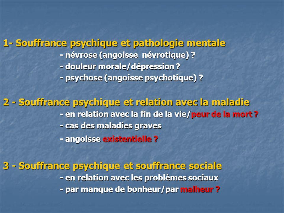 1- Souffrance psychique et pathologie mentale