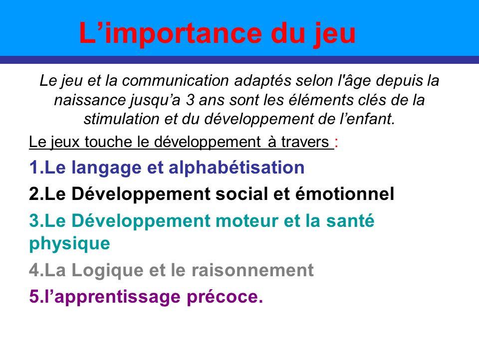 L'importance du jeu Le langage et alphabétisation