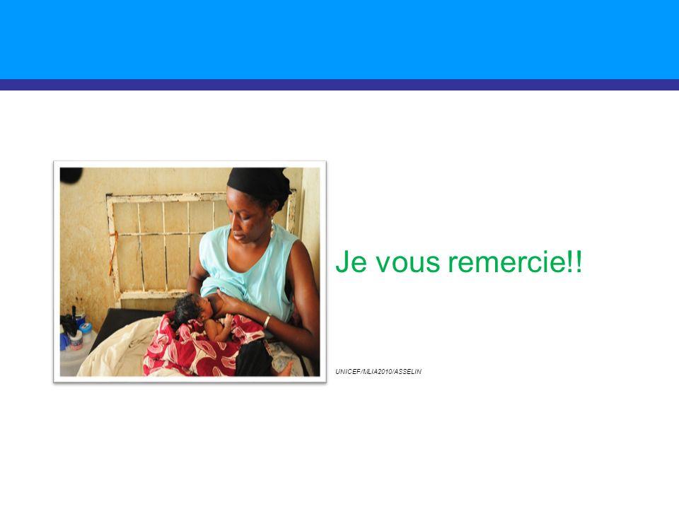 Je vous remercie!! UNICEF/MLIA2010/ASSELIN