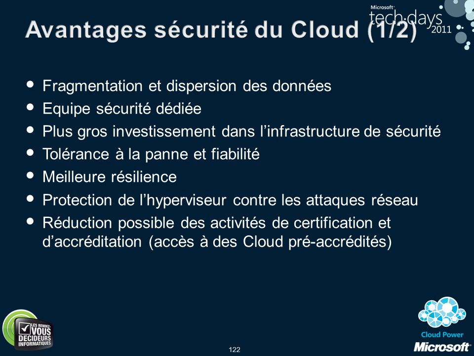 Avantages sécurité du Cloud (1/2)