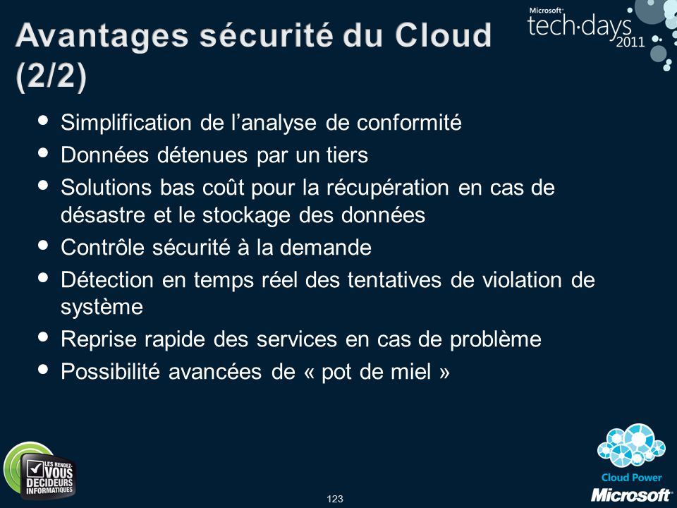Avantages sécurité du Cloud (2/2)