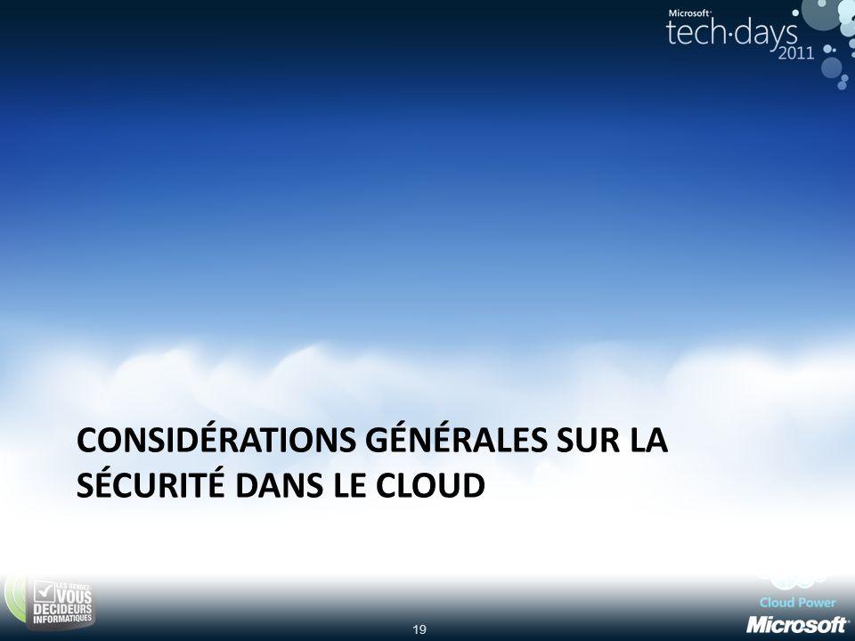 Considérations générales sur la sécurité dans le Cloud