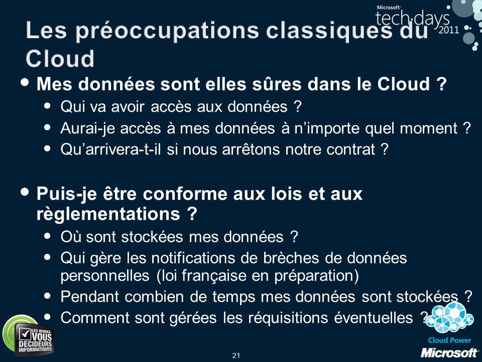Les préoccupations classiques du Cloud