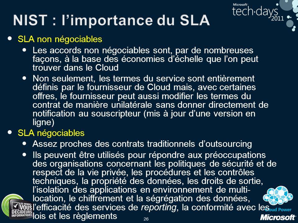 NIST : l'importance du SLA