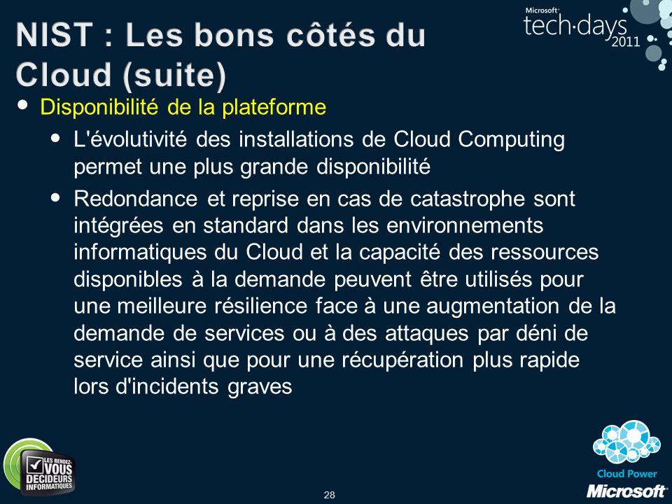 NIST : Les bons côtés du Cloud (suite)