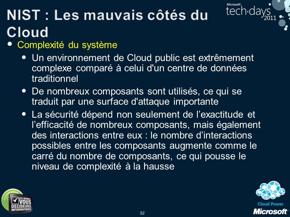 NIST : Les mauvais côtés du Cloud