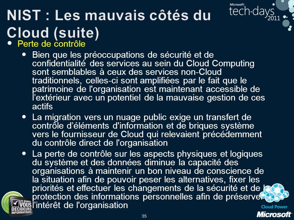 NIST : Les mauvais côtés du Cloud (suite)