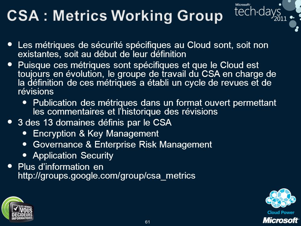 CSA : Metrics Working Group