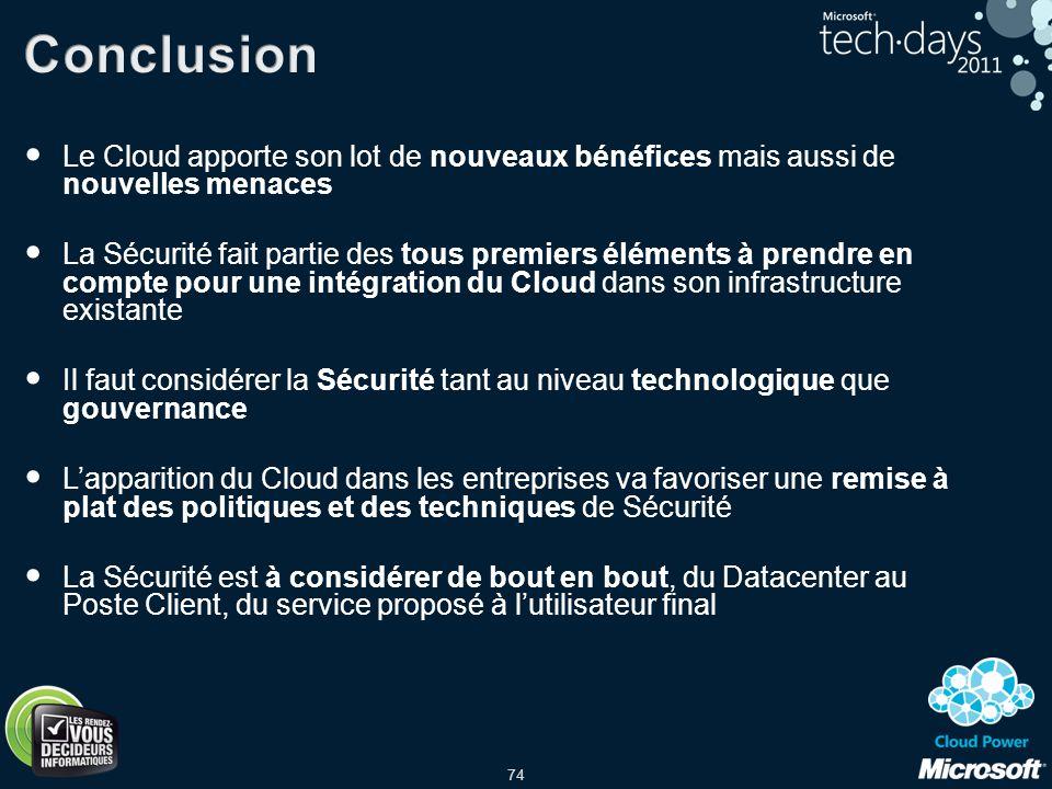Conclusion Le Cloud apporte son lot de nouveaux bénéfices mais aussi de nouvelles menaces.