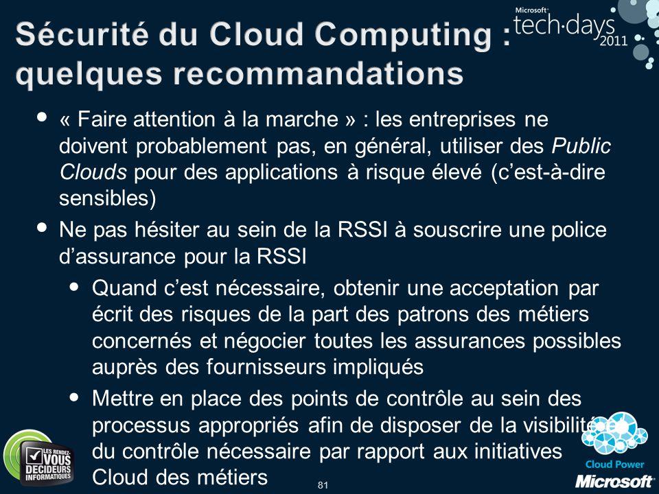 Sécurité du Cloud Computing : quelques recommandations