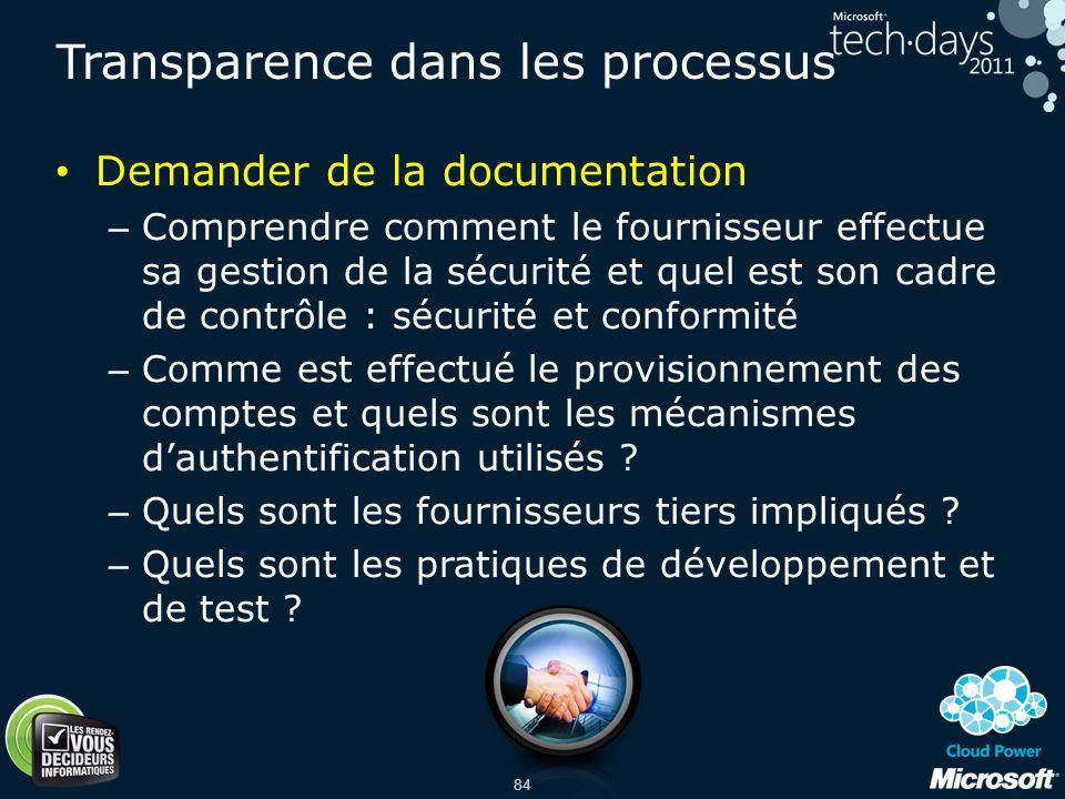 Transparence dans les processus