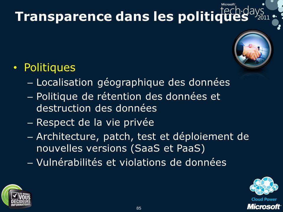 Transparence dans les politiques
