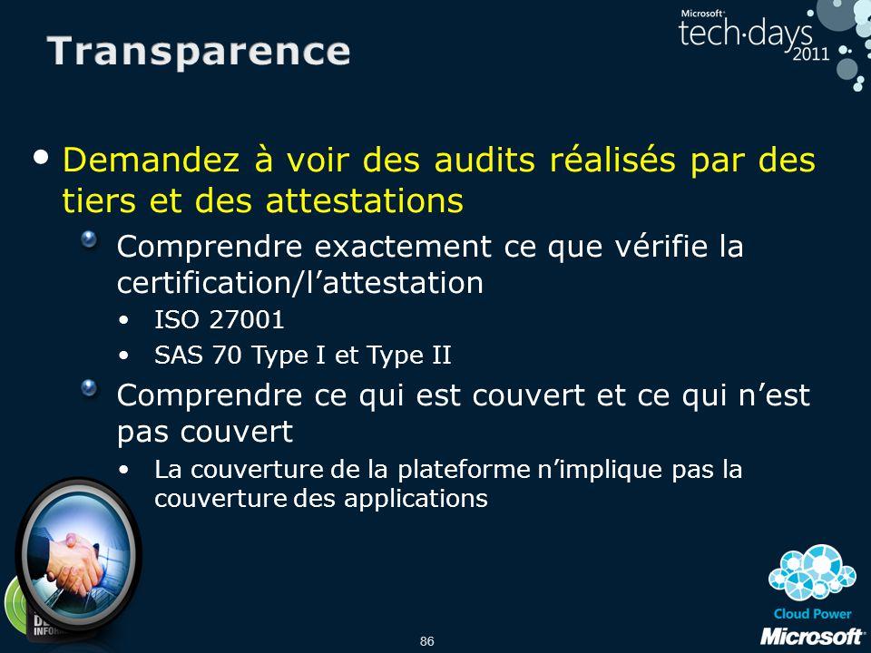 Transparence Demandez à voir des audits réalisés par des tiers et des attestations.