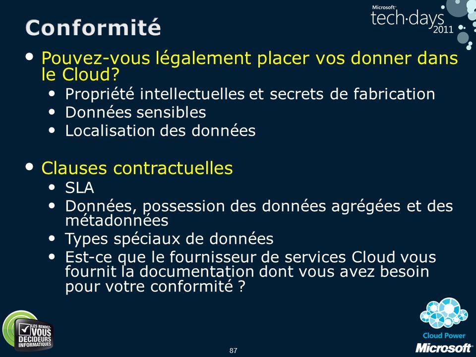 Conformité Pouvez-vous légalement placer vos donner dans le Cloud