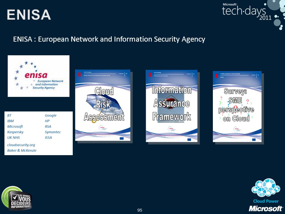 ENISA Information Cloud Survey: Assurance Risk SME Framework