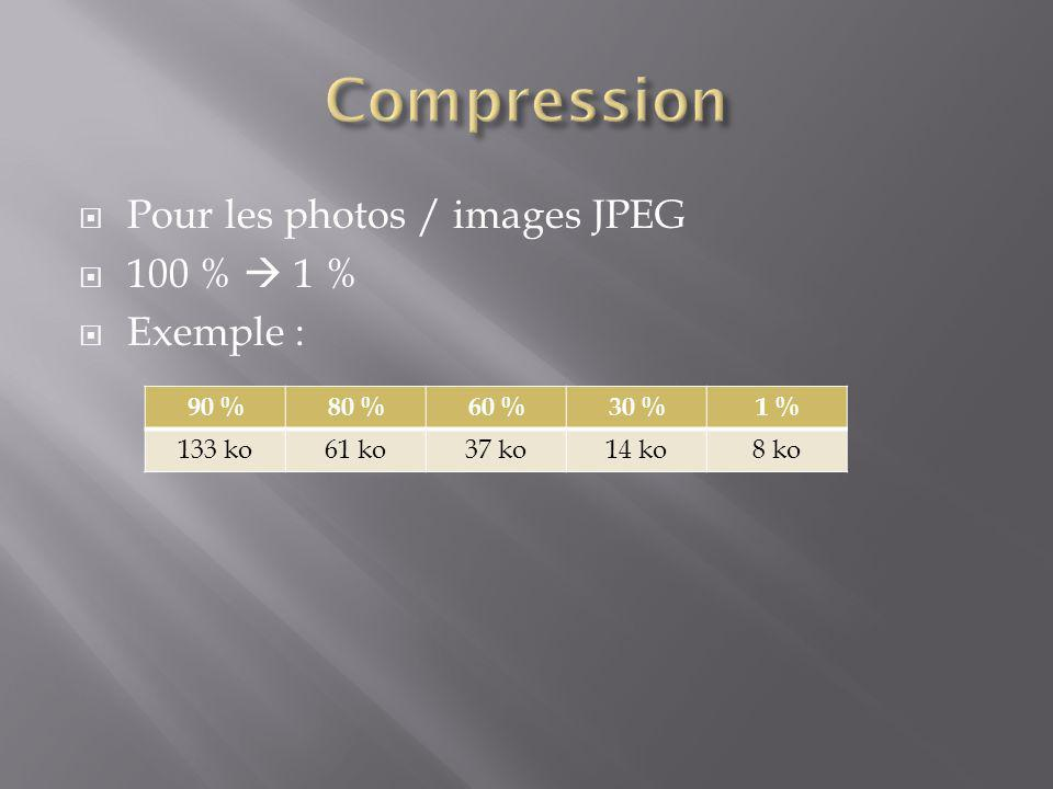 Compression Pour les photos / images JPEG 100 %  1 % Exemple : 90 %