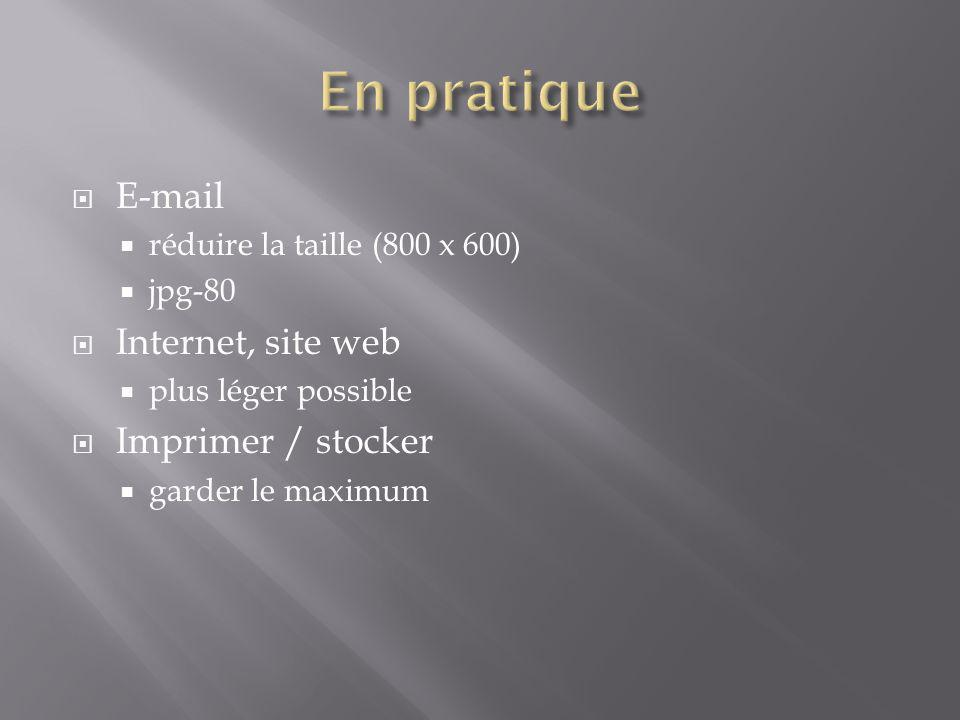 En pratique E-mail Internet, site web Imprimer / stocker