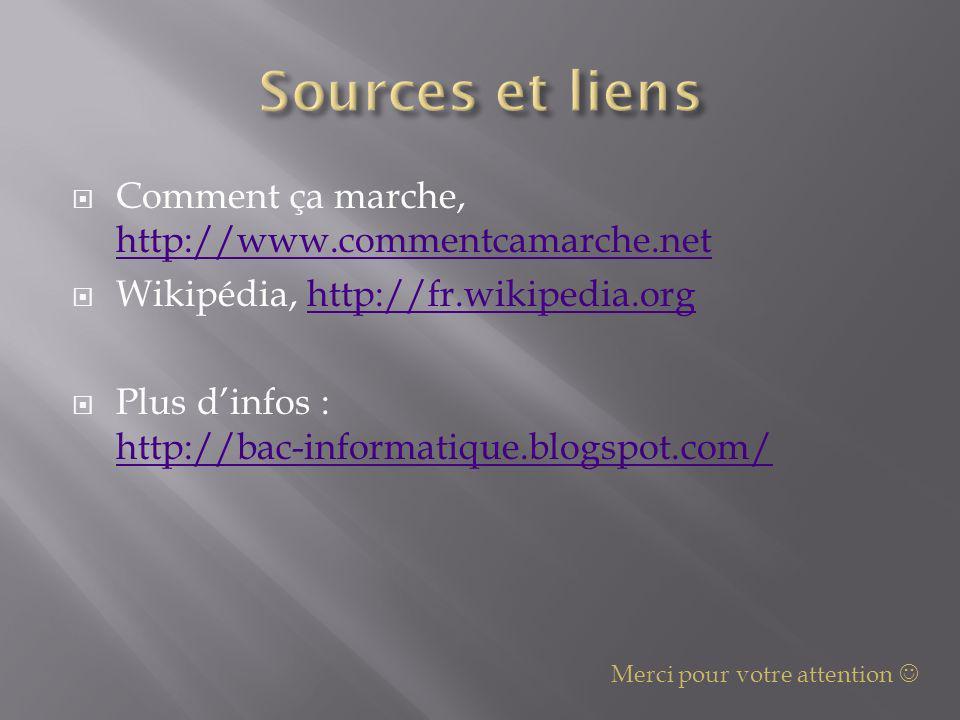 Sources et liens Comment ça marche, http://www.commentcamarche.net